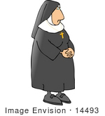 #14493 Nun Wearing A Cross Necklace Clipart
