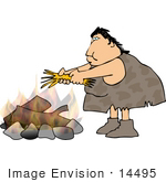 #14495 Cavewoman Putting Sticks On A Fire Clipart
