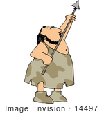 #14497 Caveman Holding A Spear Clipart