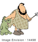 #14498 Caveman Holding a Spear and Hunted Dinosaur Clipart by DJArt