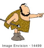 #14499 Caveman Holding A Spear And Pointing Clipart