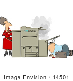 #14501 Sectretary Woman Watching A Man Repair A Smoking Copy Machine Clipart