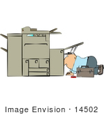 #14502 Middle Aged Caucasian Man Repairing A Copy Machine Printer Clipart