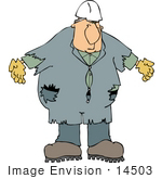#14503 Middle Aged Caucasian Man In Beat Up Coveralls Clipart