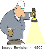 #14505 Middle Aged Caucasian Man In Coveralls Shining A Flashlight Downwards Clipart