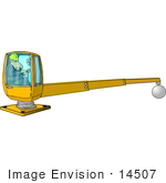 #14507 Middle Aged Man Operating A Crane Clipart