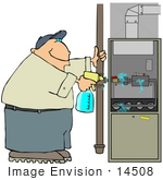 #14508 Middle Aged Caucasian Man Checking A Furnace For Gas Leaks Clipart
