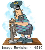 #14510 Ships Captain At The Wheel Clipart
