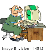#14512 Senior Caucasian Man Using a Computer Clipart by DJArt