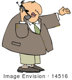 #14516 Middle Aged Caucasian Business Man Talking On A Cell Phone Clipart
