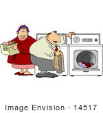 #14517 Middle Aged Caucasian Couple Doing Laundry Clipart