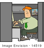 #14519 Caucasian Man Typing On A Computer In His Office Cubicle At Work Clipart