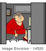 #14520 Depressed Middle Aged Caucasian Woman In Her Cubicle At Work Clipart