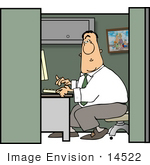 #14522 Male Caucasian Man Working At His Desk In A Cubicle Clipart