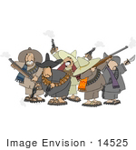 #14525 Group Of Mexican Banditos With Weapons Clipart
