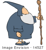 #14527 Wizard With A Cane Clipart