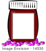 #14530 Pills In Front Of A Pill Bottle With A Blank Label Clipart