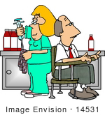 #14531 Phlebotomist Taking Blood From A Man Clipart