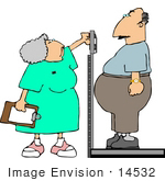 #14532 Nurse Weiging An Overweight Man In A Doctors Office Clipart