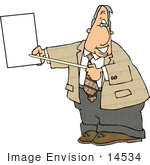 #14534 Man Pointing To A Blank Sign Clipart
