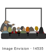#14535 Business Man And Audience In Front Of A Blank Board Clipart