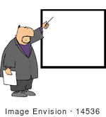 #14536 Middle Aged Caucasian Man Pointing To A Blank Board Clipart