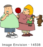 #14538 Boy Holding A Sucker Picking His Nose Girl Holding A Doll And Teddy Bear Clipart