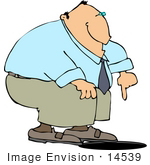 #14539 Middle Aged Caucasian Man Pointing Down At A Manhole Clipart