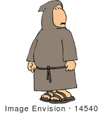 #14540 Monk Looking Back Over His Shoulder Clipart
