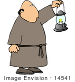 #14541 Monk Carrying A Lantern In Front Of Him Clipart