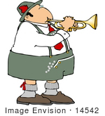 #14542 Male German Trumpet Player Clipart
