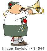 #14544 Male German Trombone Player In Uniform Clipart