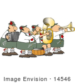 #14546 German Band With Accordion (Accordian Squeezebox) Trumpet Tuba And Trombone Players Clipart