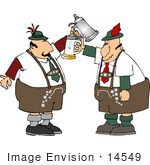 #14549 German Men Holding Beer Steins Clipart