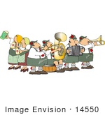 #14550 German Brass Band And Beer Maidens At Oktoberfest Clipart