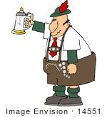 #14551 German Man Holding Up A Beer Stein Clipart