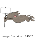 #14552 Dog Holding Onto A Pole In A Wind Storm Clipart