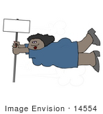 #14554 African American Woman Holding Onto A Pole In A Storm Clipart