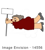 #14556 Overweight Woman Being Blown In The Wind Holding Onto A Pole Clipart