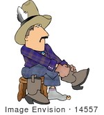 #14557 Cowboy Putting On His Boots Clipart
