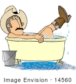 #14560 You Might Be A Redneck If You Are A Cowboy Bathing With Your Boots On Clipart