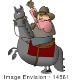 #14561 Caucasian Cowboy Riding A Bucking Bronco Horse Clipart
