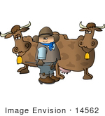 #14562 Cowboy Holding A Branding Iron By Two Cows Clipart