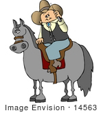 #14563 Cowboy Talking on a Cellphone While Riding a Horse Clipart by DJArt
