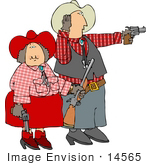 #14565 Western Cowboy And Cowgirl Couple Clipart