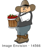 #14566 Cowboy Carrying Apples In A Bushel Clipart
