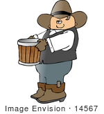 #14567 Cowboy Carrying An Empty Bushel Bucket Clipart