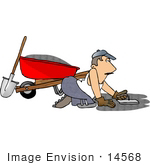 #14568 Middle Aged Caucasian Man Laying Cement Clipart by DJArt