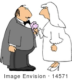 #14571 Middle Aged Caucasian Bride and Groom Getting Married Clipart by DJArt