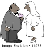#14573 Middle Aged African American Bride and Groom Facing Eachother Clipart by DJArt